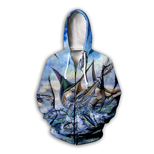 Blwz Zip Hoodies Pullover 3D Active Fisch Print Unisex Cardigan Männer Frauen Langarm Sweatshirts Uniform Pullover Outdoor Freizeit Club Straße, L