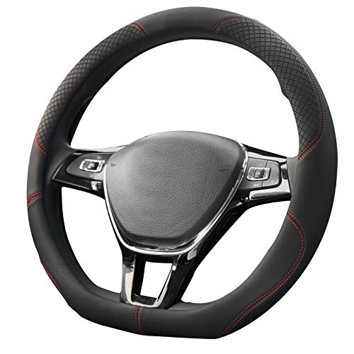CHARMCHIC D Shape Microfiber Leather Steering Wheel Cover for Women Universal 15 Inch,Skidproof Durable Heat Resistant Soft Ergonomic Designed, Black