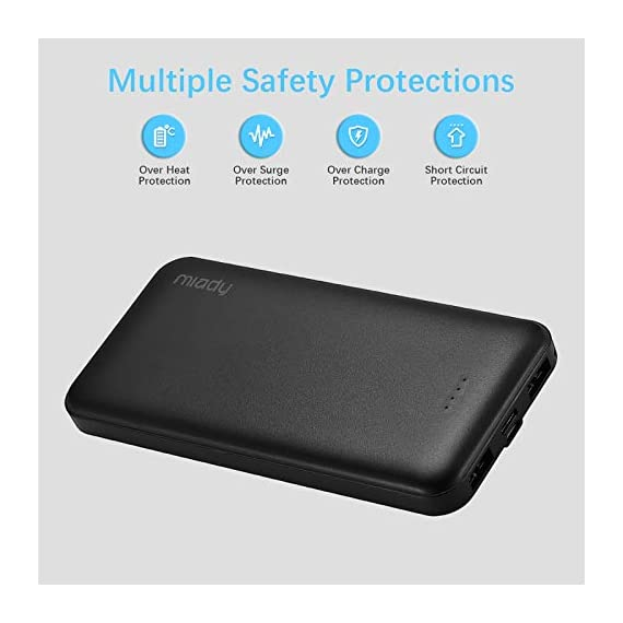 Miady 10000mAh Dual USB Portable Charger Power Bank 3 【3-Pack 10000mAh Power Bank】Three 10000mAh battery packs not only for portable charging but also around the home. Allowing you charge mobile devices without having to be tethered to a plug socket. Each of them fully charges 2.4 times for iPhone X, 3.6 times for iPhone 8 and 2.2 times for Samsung Galaxy S9. 【Dual Output & Input】Each has 2 USB output ports that detect all the connected devices and efficiently distributes the current output up to 5V 2.1A. The USB C and Micro USB ports can fully refill the battery itself in 5 hrs at 5V 2.0A. 【Reliable Li-polymer Cell】Thanks to the Li-polymer battery pack, the charger is much safer than any Li-ion charger. Also, it's lighter and slimer that you can easily carry it around, even on airplanes.