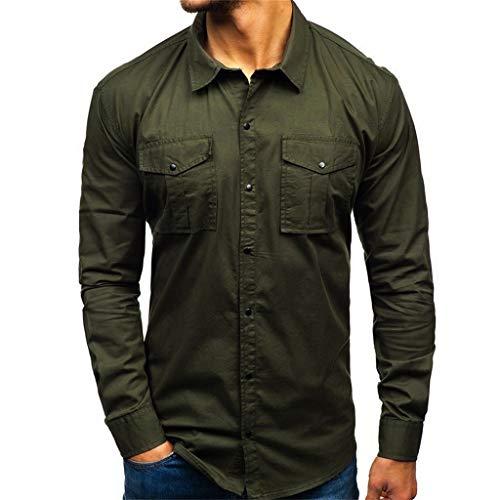 Kanpola Freizeithemd Herren Cargo Hemden mit Brusttasche Outdoor Shirt Slim Fit Coole Langarmhemd Herbst Langarmshirt MäNner Safari Hemd