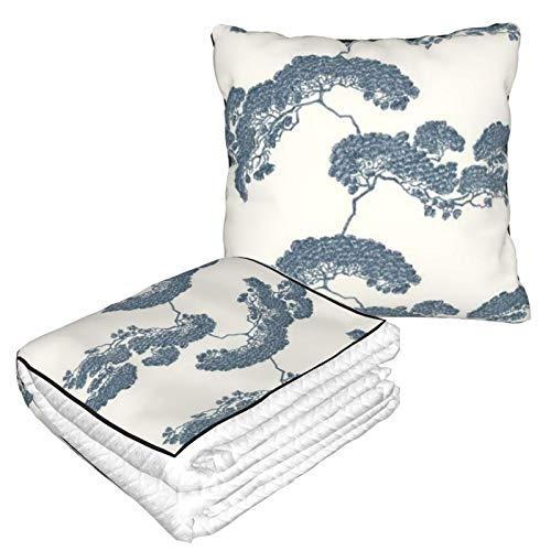 Manta de almohada de terciopelo suave, 2 en 1 con bolsa suave, diseño de árbol bonsái, funda de almohada japonesa para casa, avión, coche, viajes, películas