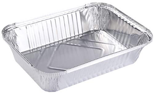 Vaschette Alluminio con Coperchio per BBQ Vassoio Alluminio Usa e Getta – 20 pezzi (B: vaschette con coperchio 20 pezzi: 22x15.8x5.4cm)