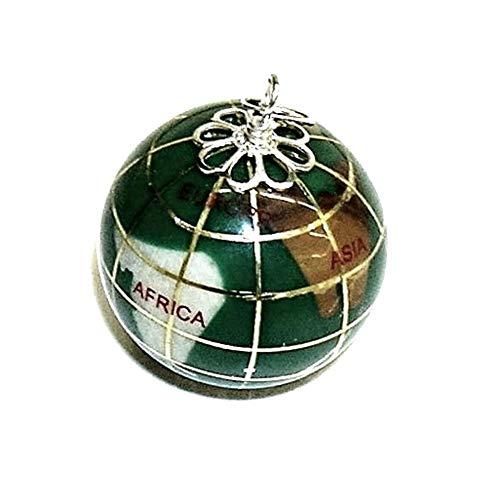 perlascarel Colgante Bola del Mundo Grande 2,5 cm. Fondo mar Verde malaquita, y Plata de Ley 925