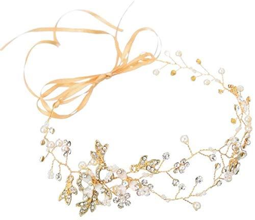 WLYX Nuptiale Bandeau Cristal Nuptiale Headpiece Strass Mariage Serre-tête Coiffe Accessoires Cheveux Couvre-Chef Argent (Size : Golden)