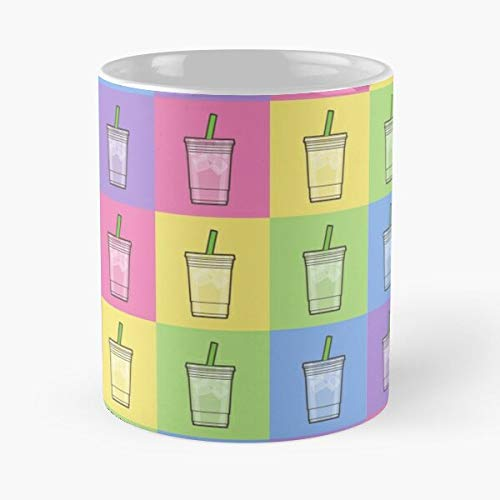 Drink Fresh Straw Colourful Tea Frappucino Rainbow Colorful The best 11oz White marble ceramic coffee mug