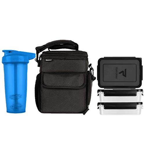 PERFORMA Meal Prep Bag/Shaker Bundle (Black/Blue) - Easy to Use 3 Meal Prep Kit, Spacious, Organized Matrix, and Durable To Accommodate Your Daily Meal & 28oz ACTIV Shaker Bottle