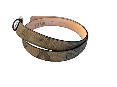 Cintura donna Alviero Martini Prima Classe colore geo Tortora Art. CA2776130 altezza 3 cm. Misura 95 cm.