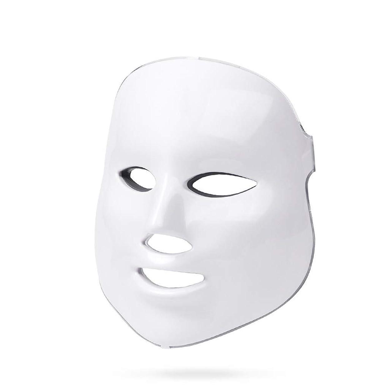 可聴高層ビル医療のライトセラピー?マスク、ライトセラピーは調色、しわ、アクネホワイトニングマスクフェイシャルマスクセラピー7色のアンチエイジングスキンケアライトセラピーにきびを率いにきび治療をマスク (Color : White)