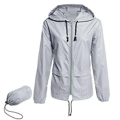 Rain Jackets for Women WaterproofPlus Size Packable Raincoat Women Lightweight Windbreaker Waterproof Jackets with Hood Grey 3X-Large