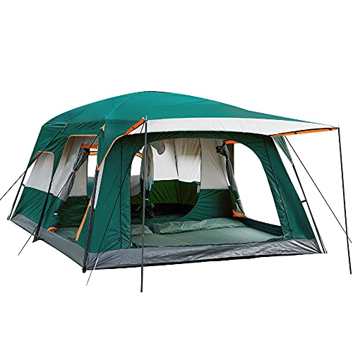 KTT Extra Large Tent 12 Person(Style-B),Family Cabin Tents,2 Rooms,Straight Wall,3 Doors and 3 Windows with Mesh,Waterproof,Double Layer,Big Tent for Outdoor,Picnic,Camping,Family,Friends Gathering.