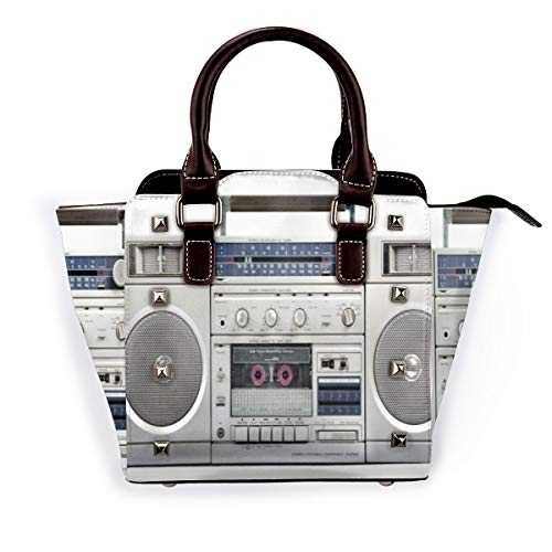 BROWCIN Altavoz que escucha Radio plateada Boom Box Tecnología de cassette Dj...