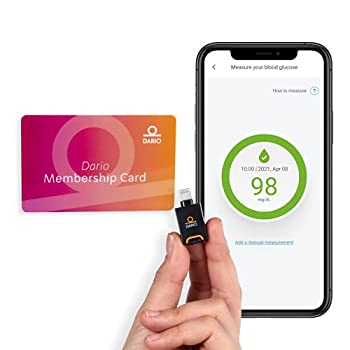Dario Value Pack Kit - Blood Glucose Monitoring Set Test Your Blood Sugar On an iPhone Smartphone Kit for Diabetes  Glucose Meter All-in-One Device + 12 Month Auto-Shipped Test Strips  iPhone