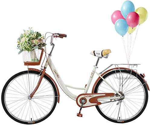 Complete Cruiser Bikes, 26 Inch Beach Bike for Women - Classic Retro Bicycler Bicycle with Baskets & Rear Racks, Comfortable Commuter Bicycle for Leisure Picnics & Shopping (Beige)