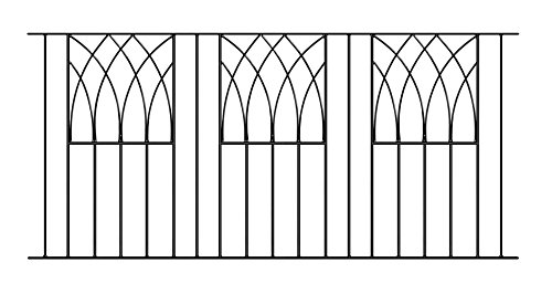 Abbey Modern Railing Panel 1830mm GAP x 815mm High galvanised wrought iron steel metal fence fencing ABZP01