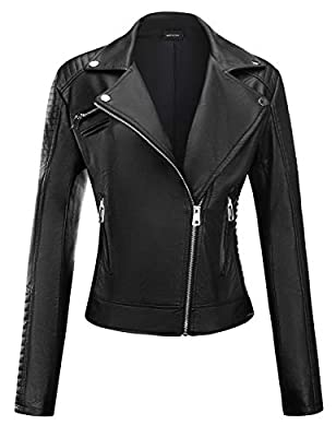 FIRST WAY Women's Faux Leather Jacket with Pockets Moto Biker Short Coat Slim Fit PU Outwear for Fall and Winter Black-A S