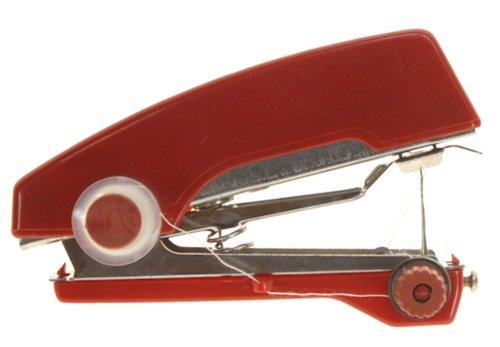 Genius Ideas Indiscount - Máquina de Coser para dobladillos (tamaño Mini, 11 x 7 x 4,5 cm), Color Rojo