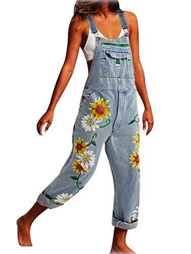 Tomwell Damen Latzhosen Frauen Denim Klassisch Jeans Gerades Bein Taschen Jeanshose Vintage Loose Fit Blumen Denim Playsuit Romper Baggy Boyfriend Stylisch Jumpsuit (L, 01 Hellblau)