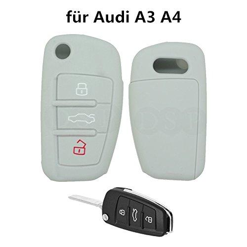 tuqiang® for Audi A3 A4 1pc Gris 3 boutons klapps chlu réglable en clés de voiture Clé de protection en silicone