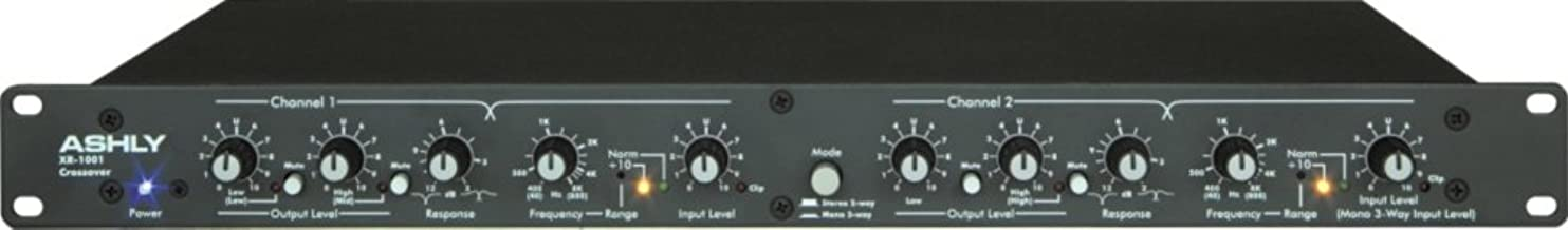 Ashly XR-1001 Crossover 2 Way Stereo and 3 Way Mono XLR and 1/4 Inch Connection 1U Metal Chassis