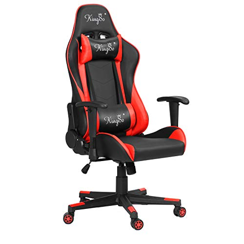 KINGSO Gaming Chair Racing Style Office Chair 180 Degrees Adjustable High Back Video Game Chair with Height Adjustment, Headrest and Lumbar Support Swivel Chair(Red)