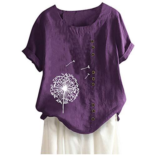 ELECTRI Femmes T-Shirt Courtes en Coton et Lin à Manches Longues à Blouse à