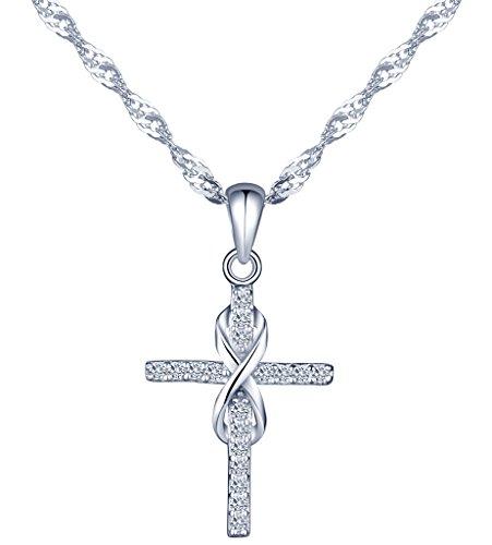 Yumilok pendentif collier en 925 argent et zircon la croix brillante et le symbole d'infini pour femme fille couleur d'argent