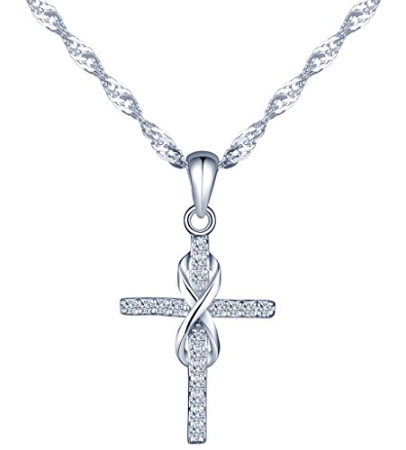 Yumilok Jewelry 925 Sterling Silver Cubic Zirconia Classic Infinity Symbol Cross Pendant Necklace for Women/Girls (A)