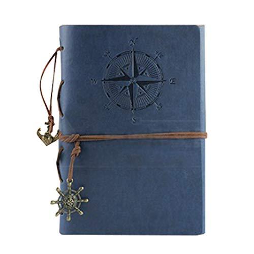 DK-tre Likable Takken & Boom Lederen Schrijven Journal Notebook, A5 Vintage Piraat Boot Blank Kraft Papier Dagboek Schetsboek Reizen om in te schrijven, Retro Hanger (Navy Blue) NB
