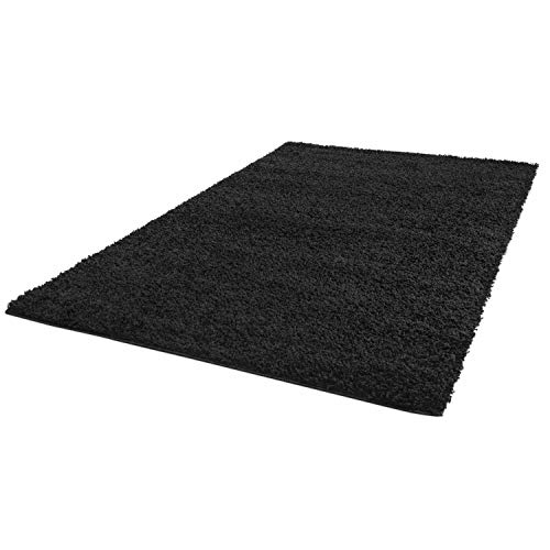 ayshaggy Shaggy Teppich Hochflor Langflor Einfarbig Uni Schwarz Weich Flauschig Wohnzimmer, Größe: 160 x 230 cm