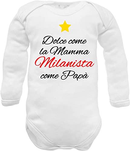 Body neonato divertenti frase Dolce come la mamma milanista come papà (Body neonato dolce Milanista in caldo cotone, 0-3 mesi)