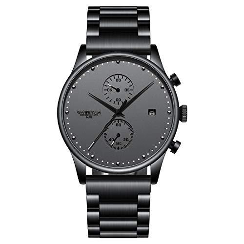 CHEETAH Relojes para Hombre Reloj de Cuarzo analógico Negro Reloj de Estilo empresarial Impermeable 3ATM con Pulsera de Acero Inoxidable de Malla CH1605
