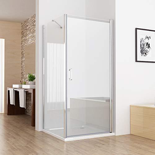MIQU 80cm Duschkabine Eckeinstieg Dusche 180° Schwingtür Duschwand mit 80cm Seitenwand NANO