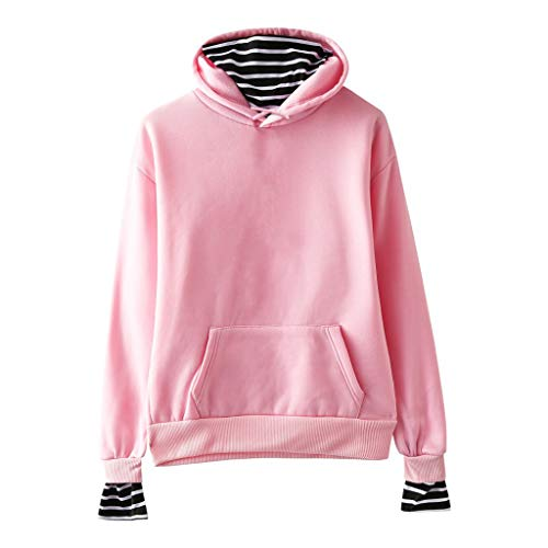 Best Prices! HNTDG Women's Solid Color Long Sleeve Casual Striped Stitching Fake Two-Piece Hooded Sw...