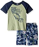 Splendid Toddler Boys' Kids and Baby Sleeve Tee and Short 2 Piece Set, Oil Green, 4T