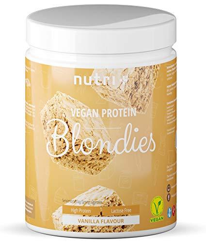 Vegan Protein Blondie Backmischung - Eiweiß Vanilla Blondies 500g mit Mandelprotein - zuckerarm - gesüßt mit Erythrit - Nutri-Plus Veggy Vanille