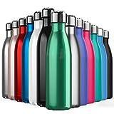 BICASLOVE Botella de Agua de Acero Inoxidable,Diseño de Pared Doble,Boca Estándar,para Correr,Gimnasio,Yoga,Ciclismo (Verde, 500ml)
