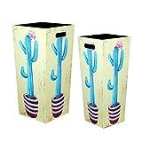 CAPRILO. Set de 2 Paragüeros Decorativos de Madera Cactus Azules. Organización y Almacenamiento. Muebles Auxiliares. Decoración Hogar. Regalos Originales. 53 x 25 x 25 cm.