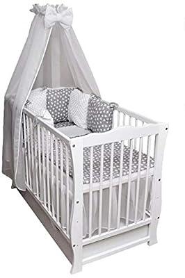 Cuna para bebé, cama infantil, manta con cojín, colchón, cajón, 120 x 60 cm, color blanco