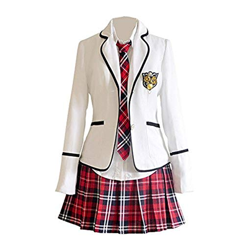 Schuluniform Cosplay Mädchen Rock Jacke Hemd (M, 6)
