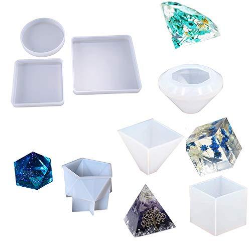 Set 7 moules en silicone pour résine époxy presse-papiers, décorations, spécimens, savons, bougies, moules d'art pour artisanat en résine bricolage, rond/carré/cube/diamant/pyramide/pierre