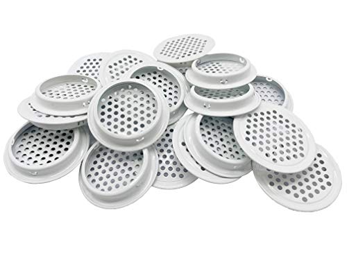 White Soffit Vents 53mm Stainless Steel Circular Round Mesh Hole Air Vents for Kitchen Bathroom Cabinet Wardrobe (Flat, 20Pcs)