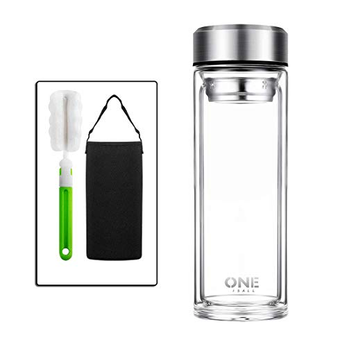 ONEISALL 800ml Large Glass Water Bottle, Double Walled Travel Mug with Removable Stainless Steel Infuser Basket - Glass Tea and Coffee Thumbler with Nylon Sleeve, Lead-Free (800ml/27 oz)