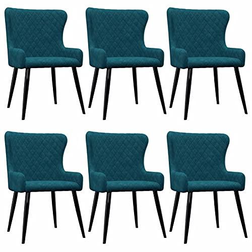 Tidyard Sillas de Comedor 6 Unidades Hogar Jardín Decoración Diseño Mobiliario Muebles Estilo Salón Sillín Sillón Asiento Banco Trono Terciopelo Azul