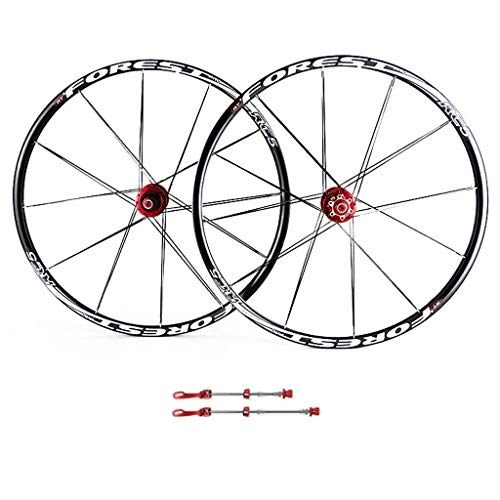 TYXTYX Mountain Bike Wheels, 26inch Double Wall MTB Rim Quick Release V-Brake Bicycle Wheelset Hybrid 24 Hole Disc 8 9 10 Speed