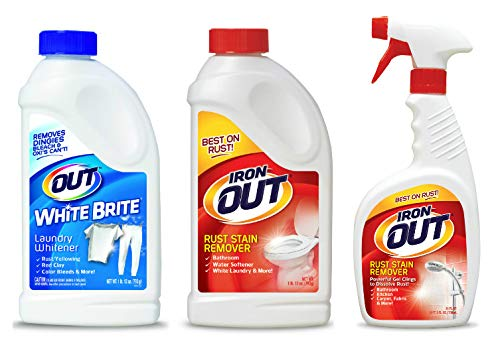 OUT White Brite Laundry Whitener and Iron Multipurpose Rust Stain Remover Powder and Spray Gel
