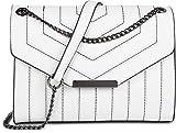 styleBREAKER Bolso de Bandolera de Mujer con Costuras Decorativas en Color de Contraste, Bolso de Hombro, Bolso de Mano, Bolso 02012308, Color:Blanco