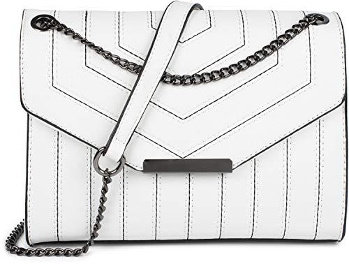 styleBREAKER dames schoudertas met siernaden en ketting, schoudertas, handtas, tas 02012308, Farbe:Wit