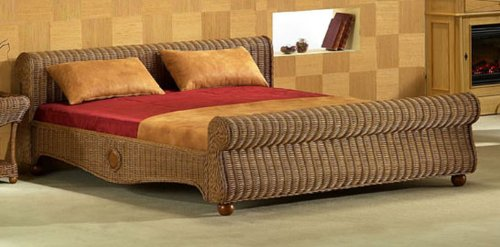 XMC VOGI Bett 160 x 200 (außen: 169 x 236) in Rattan muskat