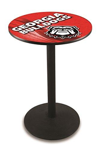 "Holland Bar Stool Co. L214-42"" Black Wrinkle Georgia Bulldog Pub Table with 36"" Dia. top image"
