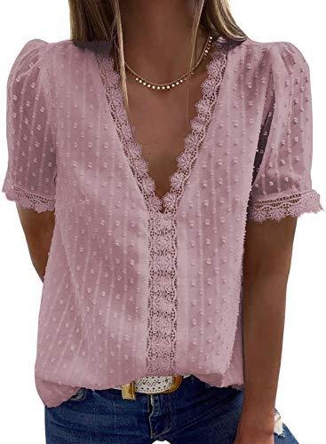 Elegancity Damen Bluse Spitzen Hemd V Ausschnitt Elegant Kurzärmel Tunika Dame Blusen Tops Oberteile M, Rosa